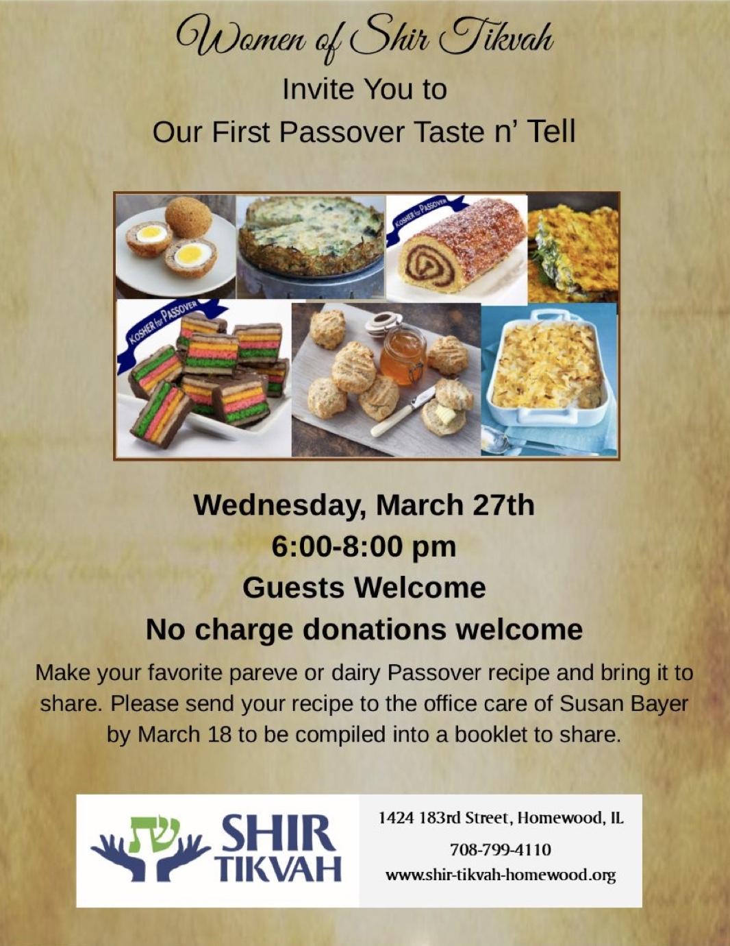 Passover Taste 'n Tell
